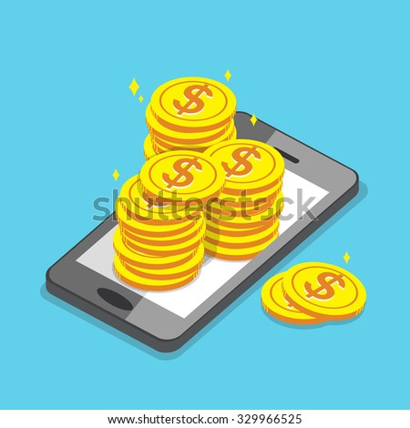 Business concept smartphone and money coins - stock vector