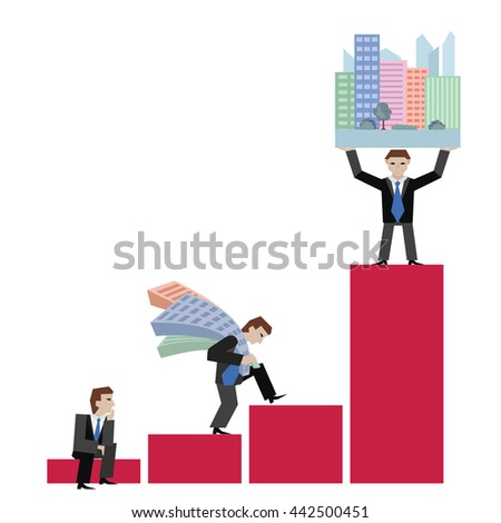 Business concept the real estate market with chart. Vector illustration of businessman with houses standing on chart, isolated on white background. - stock vector