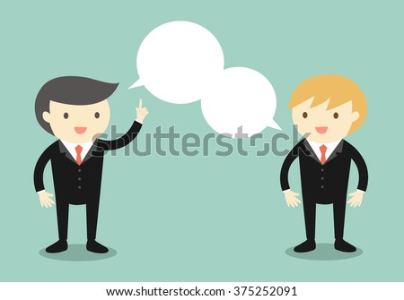 Business concept, Two businessmen are talking the same thing. Vector illustration. - stock vector