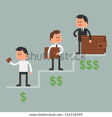 Business concept vector illustration in flat style. Money investment concept. Dollar symbols and wallet. Cartoon businessman get rich and move up - stock vector
