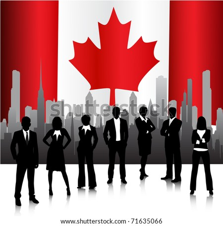 Business concept with Canadian flag - stock vector