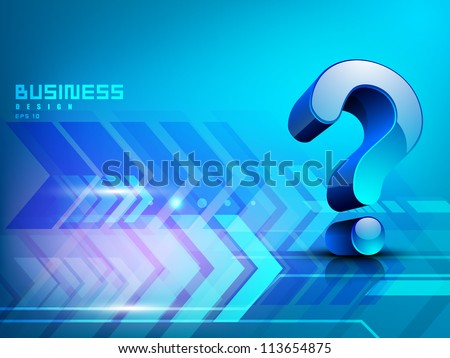 Business concept with 3D  question mark symbol. EPS 10. - stock vector