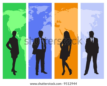 business concept with people silhouettes and world map. Map traced http://www.lib.utexas.edu/maps/world_maps/world_pol02.jpg copyright state: http://www.lib.utexas.edu/maps/faq.html#3.html - stock vector