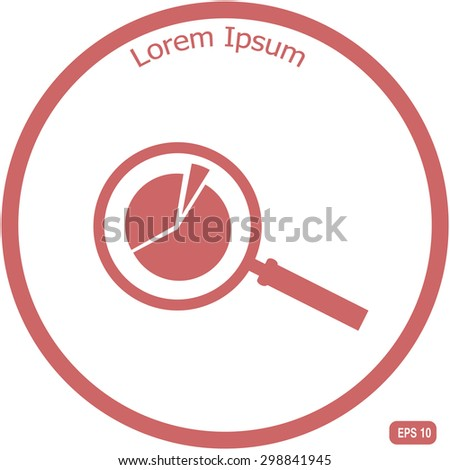 Business Concept with Pie Chart and Magnifying Glass. Vector