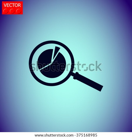 Business Concept with Pie Chart and Magnifying Glass. Vector icon.
