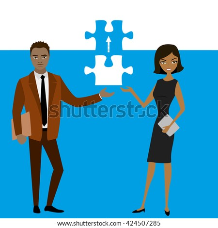 Business concept with piece of the puzzle. Vector illustration - stock vector