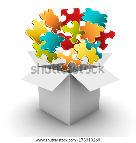 Business concept with puzzle and box. - stock vector