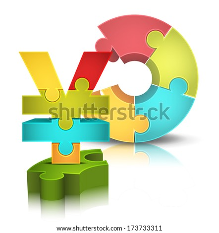 Business concept with puzzle and yen. Vector illustration.