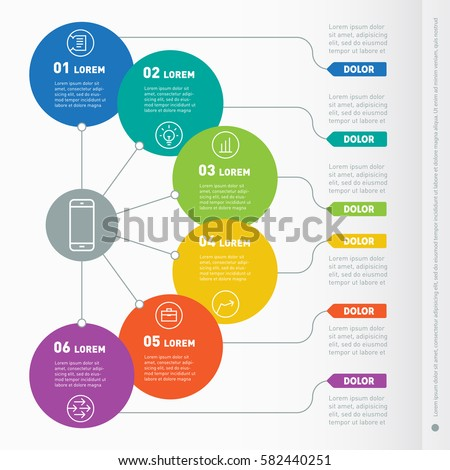 Business concept six options web template stock vektorgrafik web template of a info chart diagram or presentation ccuart Images