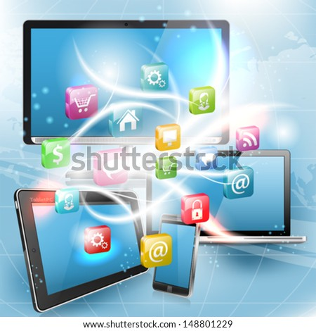 Business Concept with Tablet PC, Smartphone, Monitor, Laptop and Application icons, vector illustration - stock vector