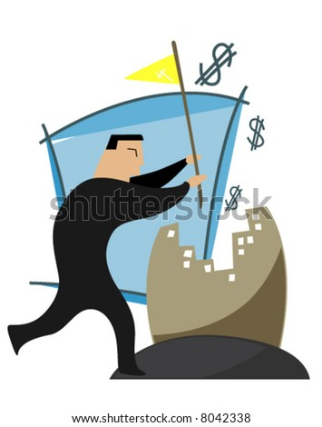 Business Concepts: Businessman with Flag - Vector