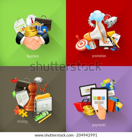 Business concepts, 3d vector icons - stock vector