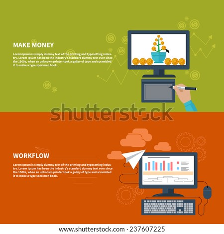 Business concepts for make money with growing money tree on computer monitor and for workflow with finance analysis, bar graph,desktop pc - stock vector
