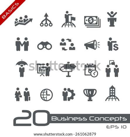 Business Concepts Icon Set // Basics - stock vector