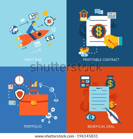Business concepts set for swift rise, profitable contract and beneficial deal - stock vector