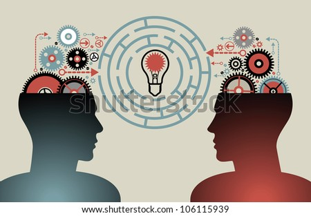 business concepts. the concept of human intelligence. people has an idea. Brain storming - stock vector