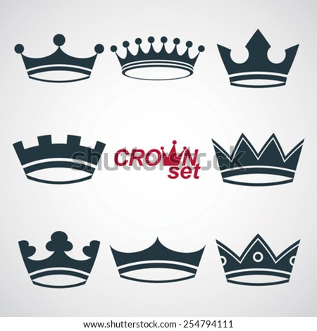 Business conceptual icons, can be used in graphic and web design. Set of vector vintage crowns, luxury ornate coronet illustration. Collection of royal luxury design element. - stock vector