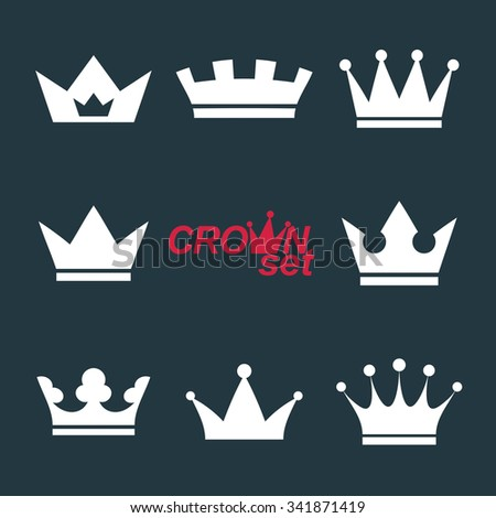 Business conceptual icons, can be used in graphic and web design. Set of vector vintage crowns, luxury ornate coronet illustration. Collection of royal luxury design elements