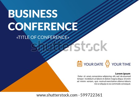 Business Conference Invitation Concept Colorful Simple Stock Vector - Business invitation template
