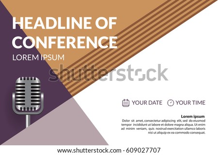 Business conference invitation concept retro microphone stock vector business conference invitation concept with retro microphone colorful simple geometric background template for banner stopboris Images