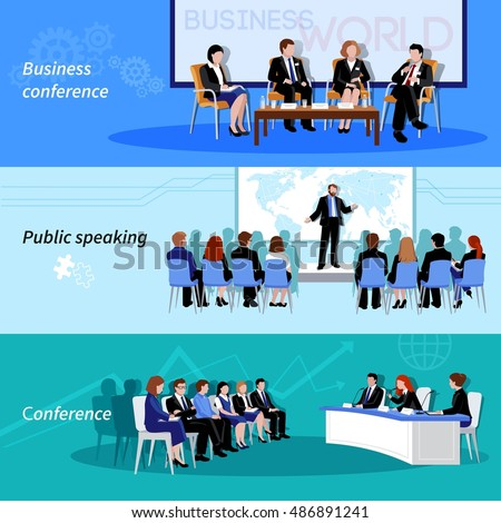 Business conference public speaking 3 flat horizontal vectors set with whiteboard result presentations abstract isolated vector illustration