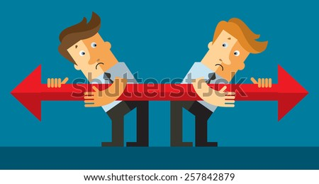 Business conflict. Opposite directions. Flat vector illustration - stock vector