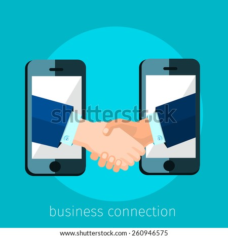 business connection and relations. Handshake, business icons in flat, e-business, apps banner, iPhone illustration - stock vector
