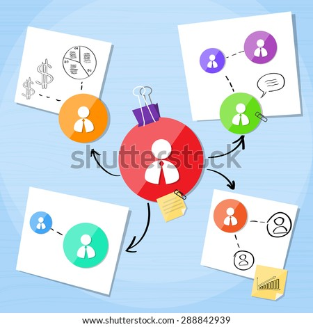 Business Connection Person Icon Team Creative Project Infographic Vector Illustration - stock vector