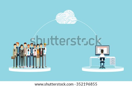 business connection to customers on cloud concept.business public relations on line.business on cloud network concept.group people business - stock vector