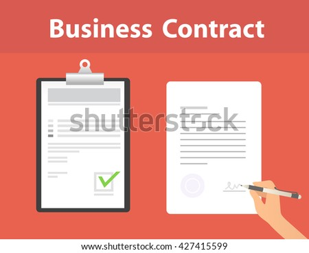Business contract. EPS10 flat design. Document, Hand, signing, pencil. - stock vector