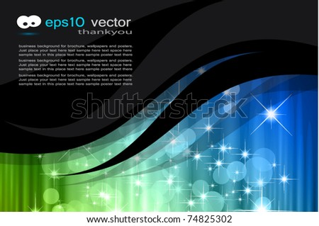 Business Corporate Card with Waterfall of Lights Background - stock vector