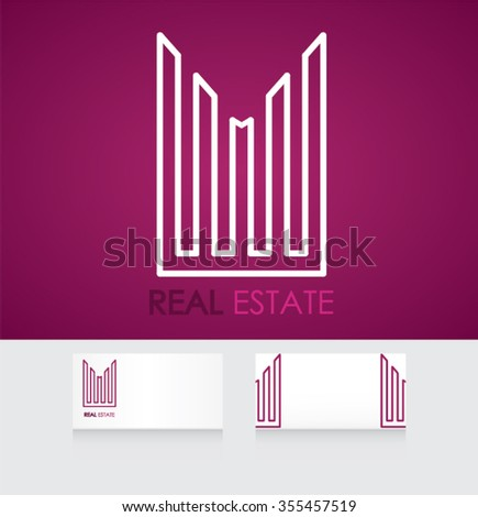 Business corporate design. Realty construction architecture symbol. Real estate logo design template with business card template editable - stock vector