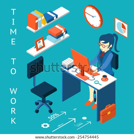 Business corporate process infographic element. Time to work concept. Workplace, performance. Vector illustration - stock vector