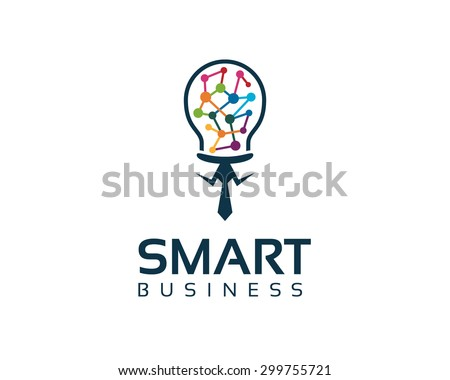 Business corporate smart business  logo design template. Simple and clean flat design of bulb illustration vector . - stock vector