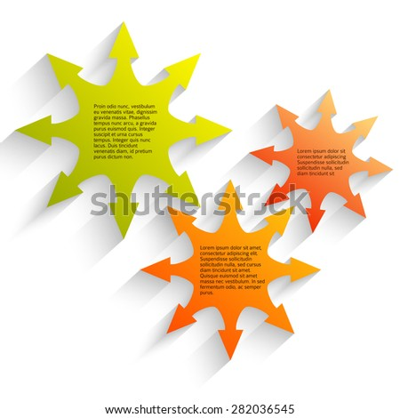 Business corporate template vector illustration EPS 10. Abstract yellow & green arrows isolated background for chart process service your company, stages business: sales, implementation manufacturing - stock vector