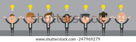 Business corporation team idea concept flat character - stock vector