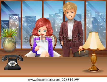 Business couple in an office illustration