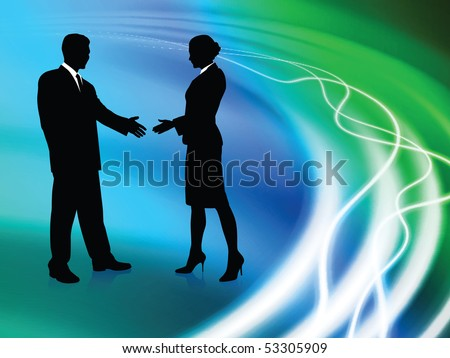 Business Couple on Abstract Liquid Background Original Illustration