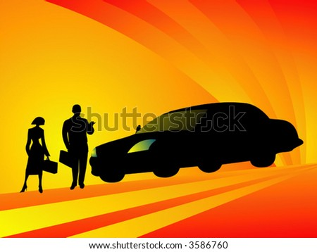 Business couple travelling with car on business meeting