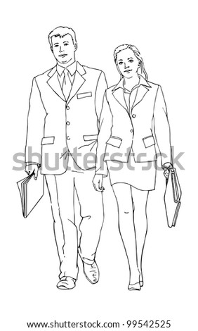 Business couple vector illustration in outline; isolated on background. - stock vector
