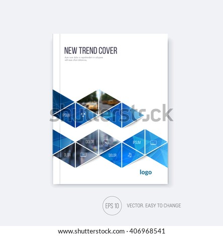 Business cover design, abstract brochure template, report, flyer layout, booklet in A4 with blue triangular zig zag geometric shapes on polygonal background in minimal style. Vector Illustration. - stock vector