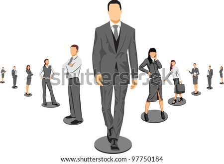 Business crew on world map, vector background