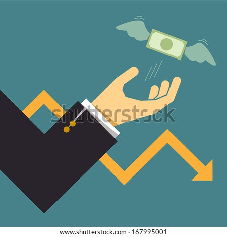 Business crisis graph with dollar bill flying away from hand, Business idea - stock vector