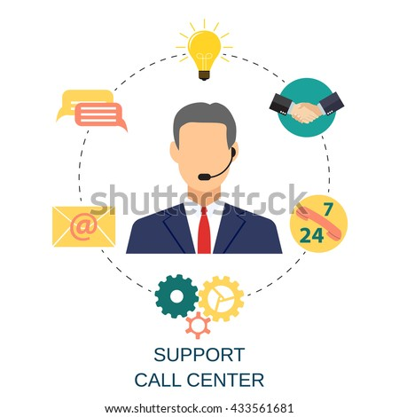 Business customer care service concept. contact us support help desk phone call and website click for infographics design web elements. vector illustration in flat design icon - stock vector