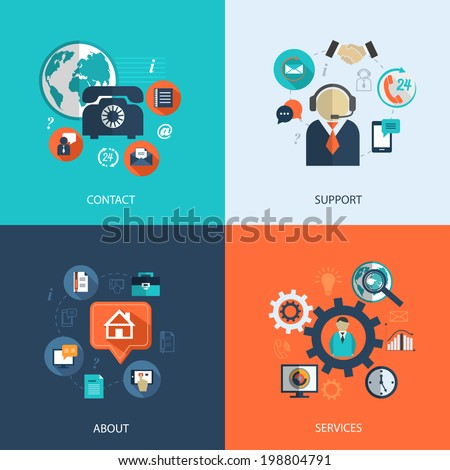 Business customer care service concept flat icons set of contact us support help desk phone call and website click for infographics design web elements vector illustration - stock vector