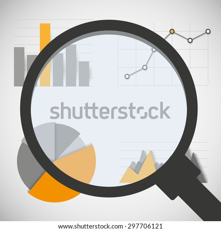 Business data elements with magnifying glass: infographics statistics, charts and graphs - stock vector