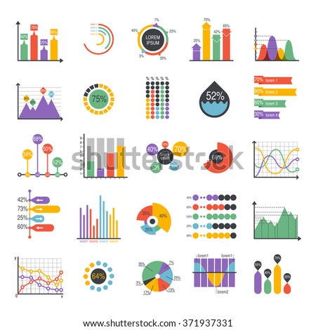 Business data graph analytics vector elements. Bar pie charts diagrams and graphs flat icons set. Infographics data analytics design elements isolated on white vector illustration - stock vector