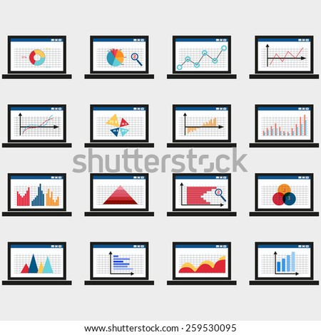 Business data market elements dot bar pie charts diagrams and graphs flat icons set in laptop. isolated vector illustration, on gray background - stock vector