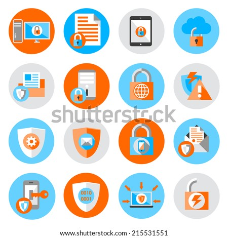 Business data protection technology and cloud network security icons set flat vector illustration - stock vector