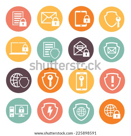 Business data protection technology  and cloud network security icons set  vector illustration. white silhouette - stock vector
